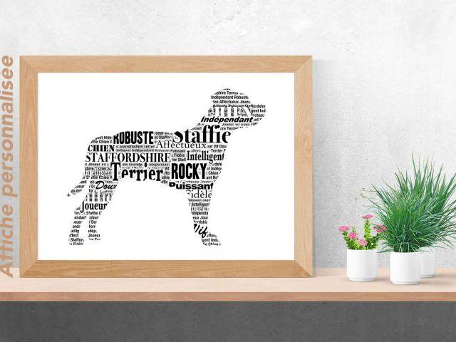 Image Staffie Staffordshire Bull Terrier typographique